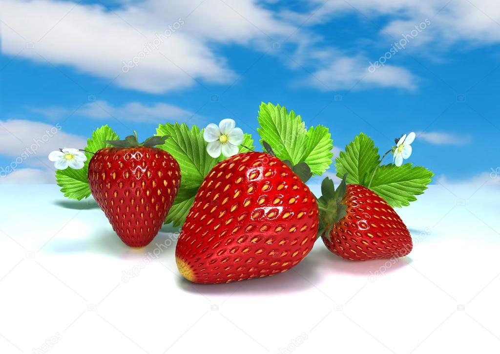 Three berries. Red strawberries on white. Still-life. 3 D illustration. Digital illustration. Digital art.