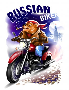 Russian bear biker in a leather jacket and bandana riding a motorcycle. Vector illustration.