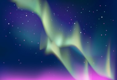 Aurora polaris. Northern lights on the  the starry night sky background. Vector illustration.