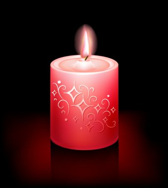 Red photorealistic decorative candle burning on a black background. Vector illustration.