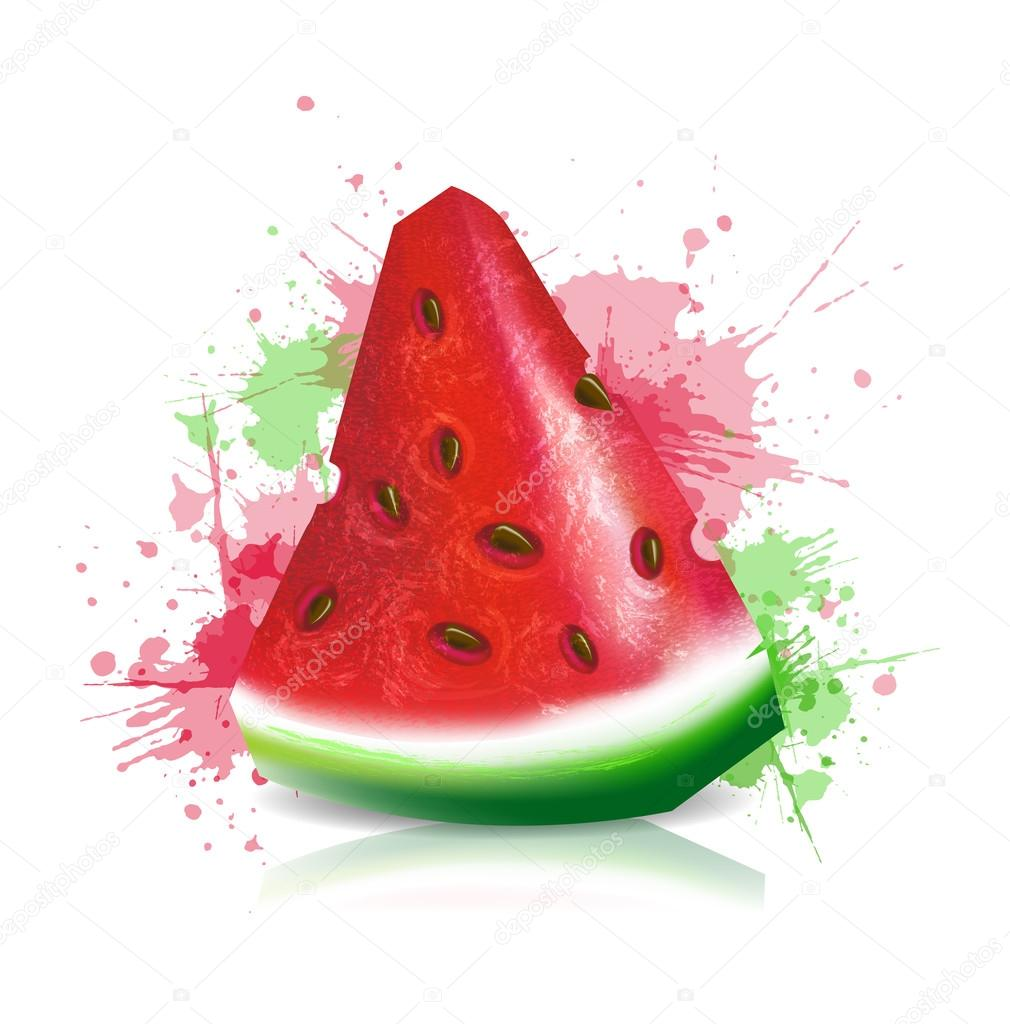 Juicy slice of ripe watermelon with seeds on the background of the spray. Vector illustration.
