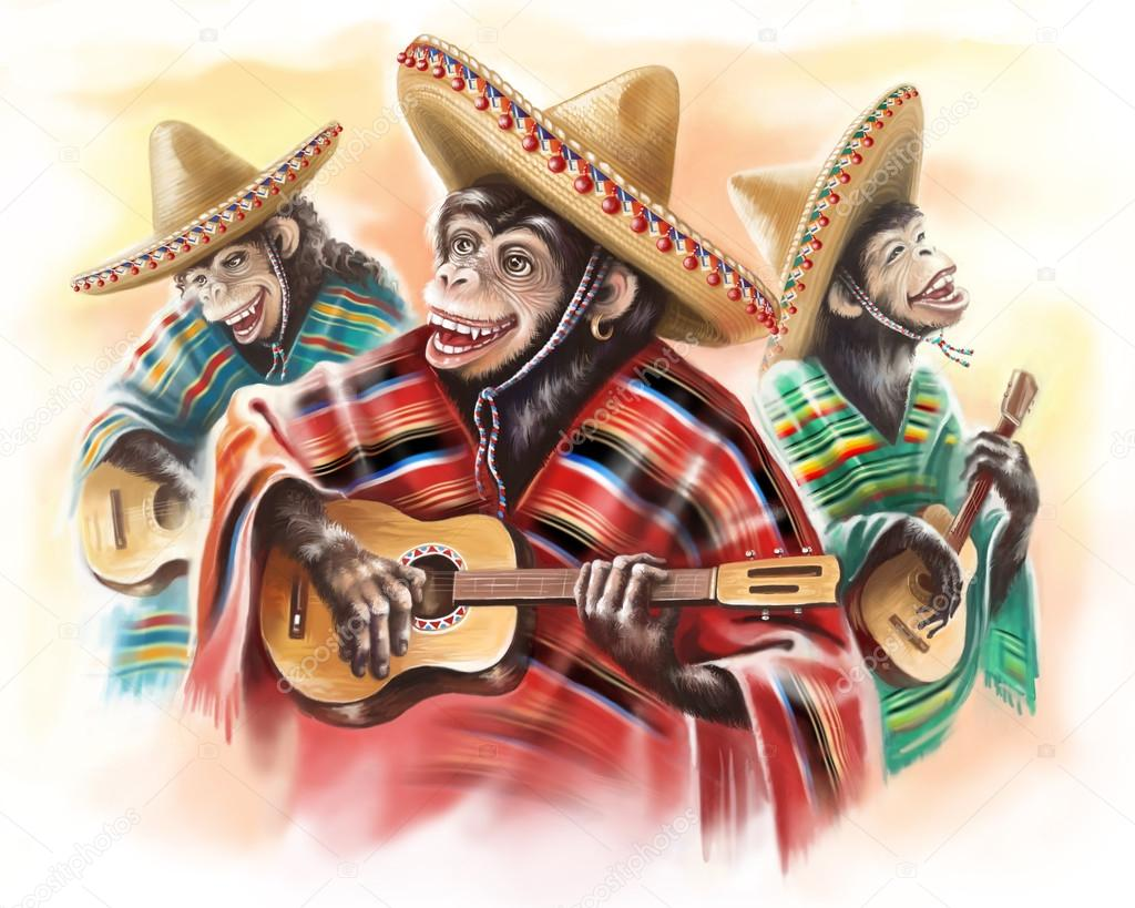 funny monkeys in a Mexican traditional dress playing guitar. Trio.
