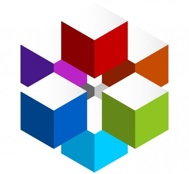 Stacked 3D cubes colorful icon