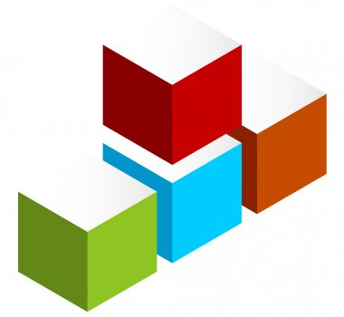 Stacked 3D cubes colorful icon on white. Isometric cubes. clip art vector