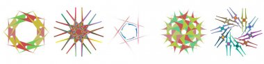 Abstract gem, crystal like clip-art set. Colorful icon