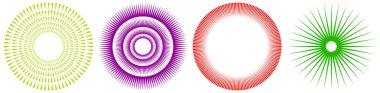 Radial, concentric, circular triangles shape, design element, icon  stock vector illustration, clip-art graphics.