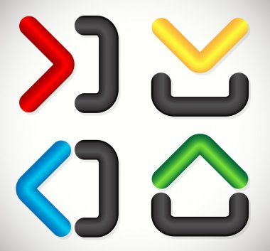 Arrows with container like shapes. Inside, Outside, up, down, le