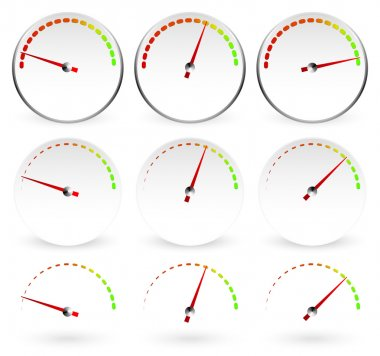 Different dials with red needles