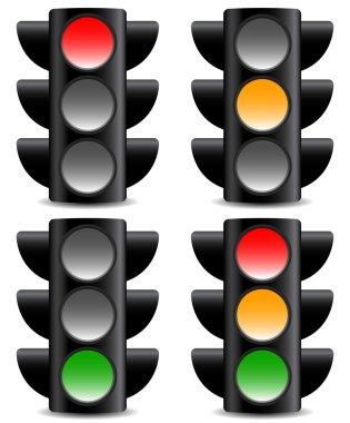 Traffic signals on white