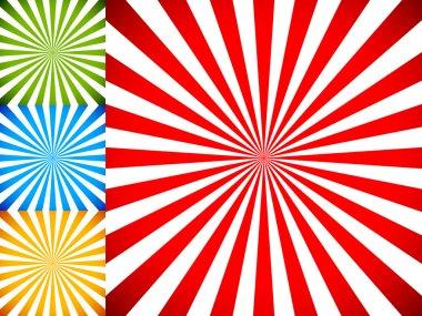 Rays or starburst background set.