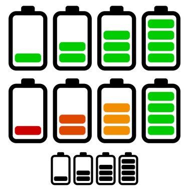 Illustration of battery level indicators. Battery life, accumulator, battery running low, battery recharging vector. clip art vector