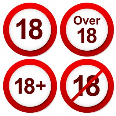 Over 18 restriction signs