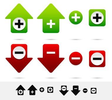 Increase, decrease icons set