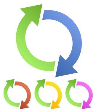 Circular, looped, rotating arrows