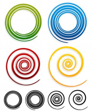 Grungy color spirals set