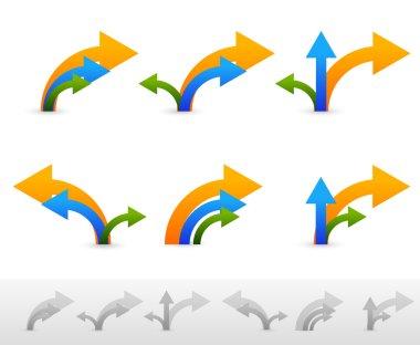 3-way arrows symbols set