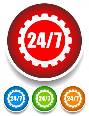 24, 7 gearwheel badge, icon