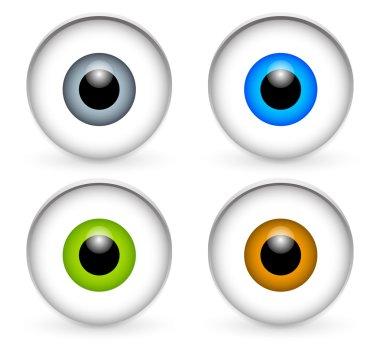 Stylish eyeballs, eyes icons