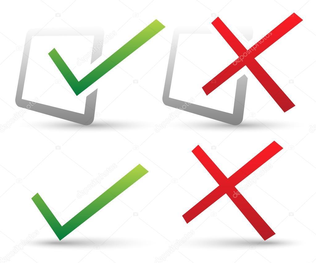 Checkmark, cross set — Stock Vector © vectorguy #68177439