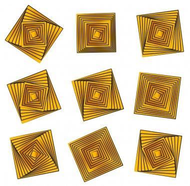 Rotating golden squares.
