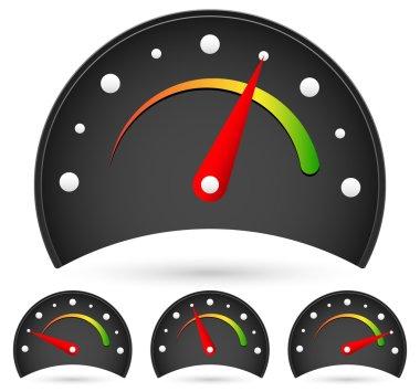 Black dial icons set