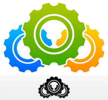 Gears Composition. Colorful and Black Version