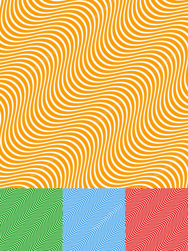 Colorful Background Set with Diagonal Wavy Lines