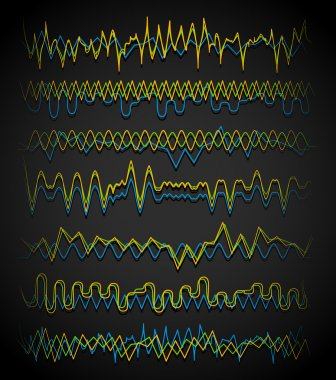 Equalizer (Eq) lines. Wavy, zigzag lines. Frequency, squiggle lines. Vector stock vector