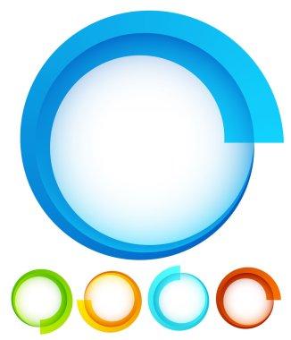 Circular, round design elements.