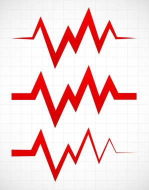 Irregular pulsating or ECG lines over gridded background stock vector