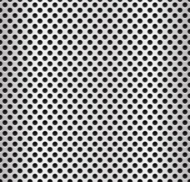 Seamless metal swatch. Perforated metal pattern with black holes. Industrial background. clip art vector