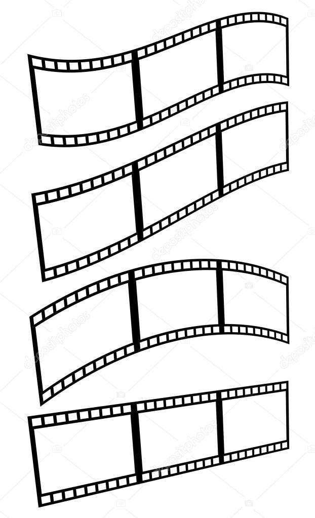 Tiras de película, película enmarca los iconos — Vector de stock ...