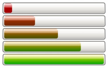 Horizontal loading, progress bars, fading colors clip art vector