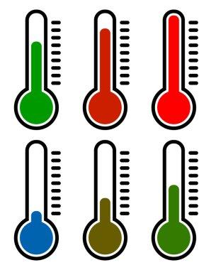 Thermometer symbols set set.