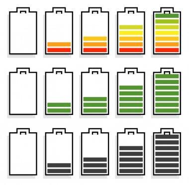 battery level indicator icons set