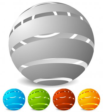 Abstract striped globes set