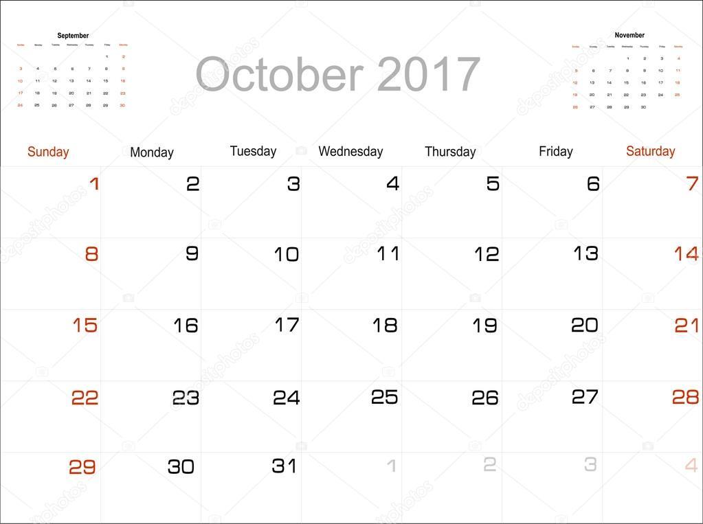 Calendrier octobre 2017 image vectorielle 101137766 - Calendrier lune octobre 2017 ...