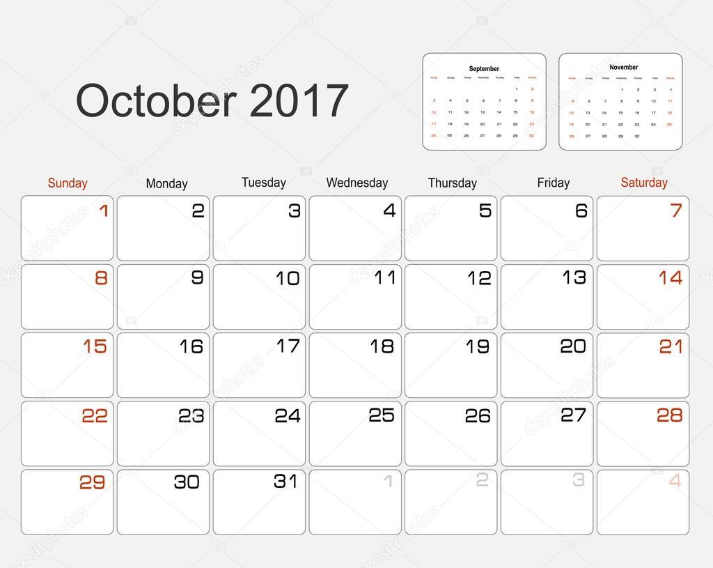 Calendar october 2017 stock vector mitay20 101138010 - Calendrier lune octobre 2017 ...