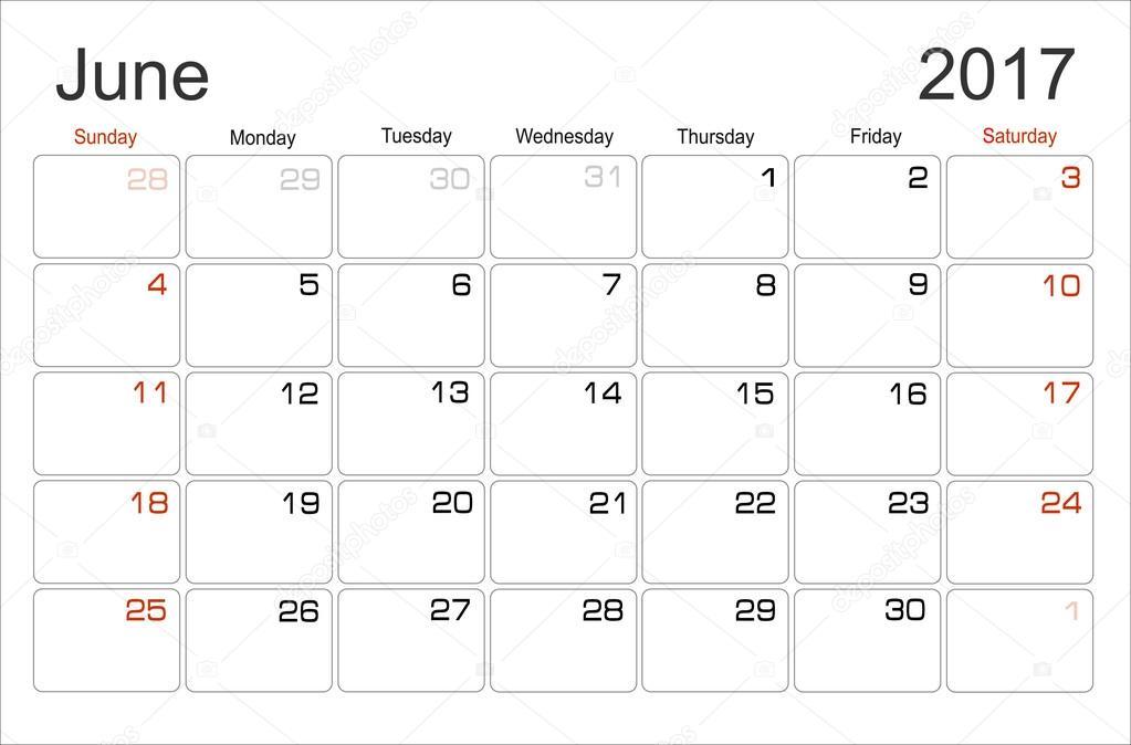 Planung Kalender Juni 2017 — Stockvektor © mitay20 #101138212