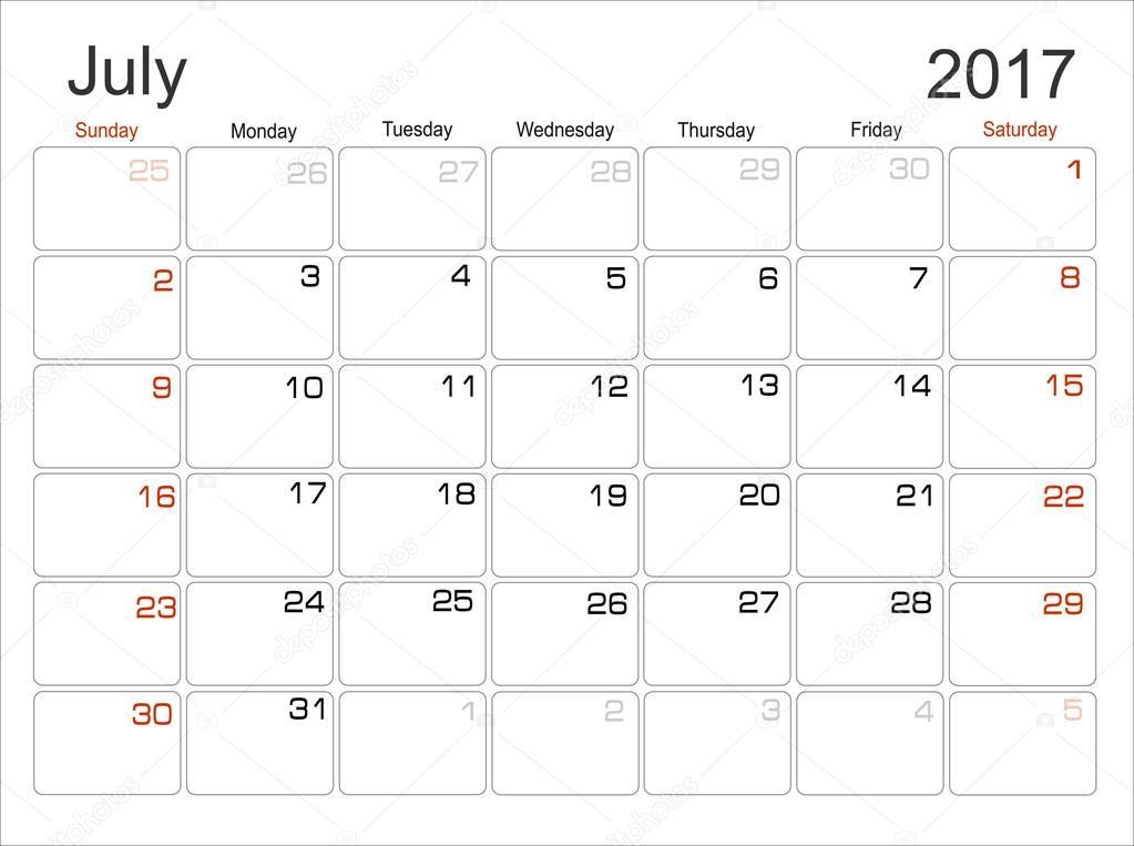 Planning Calendar July 2017 — Stock Vector © mitay20 #101138216