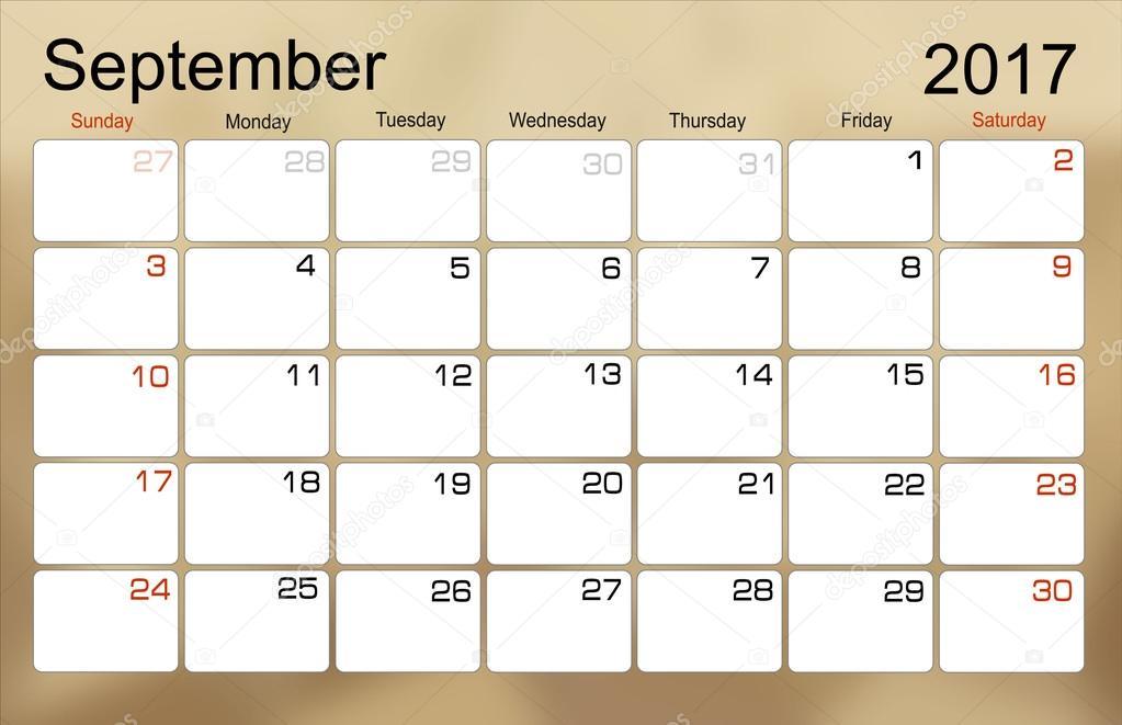 kalendar zari Kalendář září 2017 — Stock Vektor © mitay20 #101138860 kalendar zari