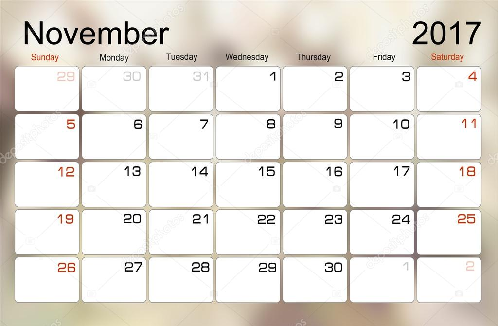 kalendar listopad Kalendář listopad 2017 — Stock Vektor © mitay20 #101138886 kalendar listopad