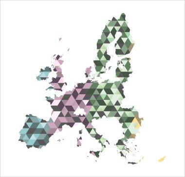 European Union map in polygonal style