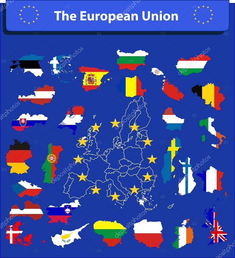 欧州連合の地図とフラグ — スト...