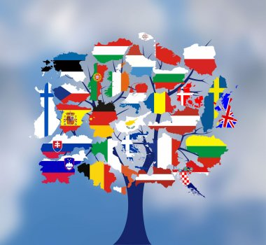 Map flags of europe in tree design.