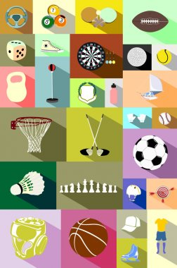 Colourful collection of sporting icons
