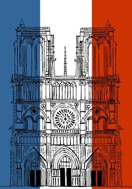 Hand drawn Notre Dame de Paris Cathedral, France