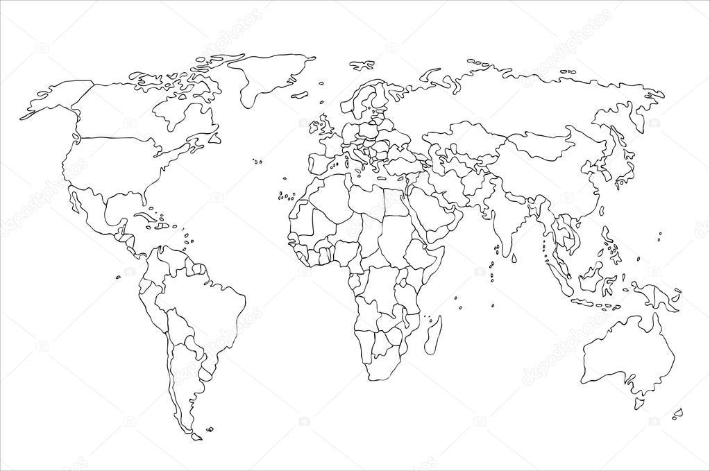 Контурная карта Абстрактные контурная карта мира
