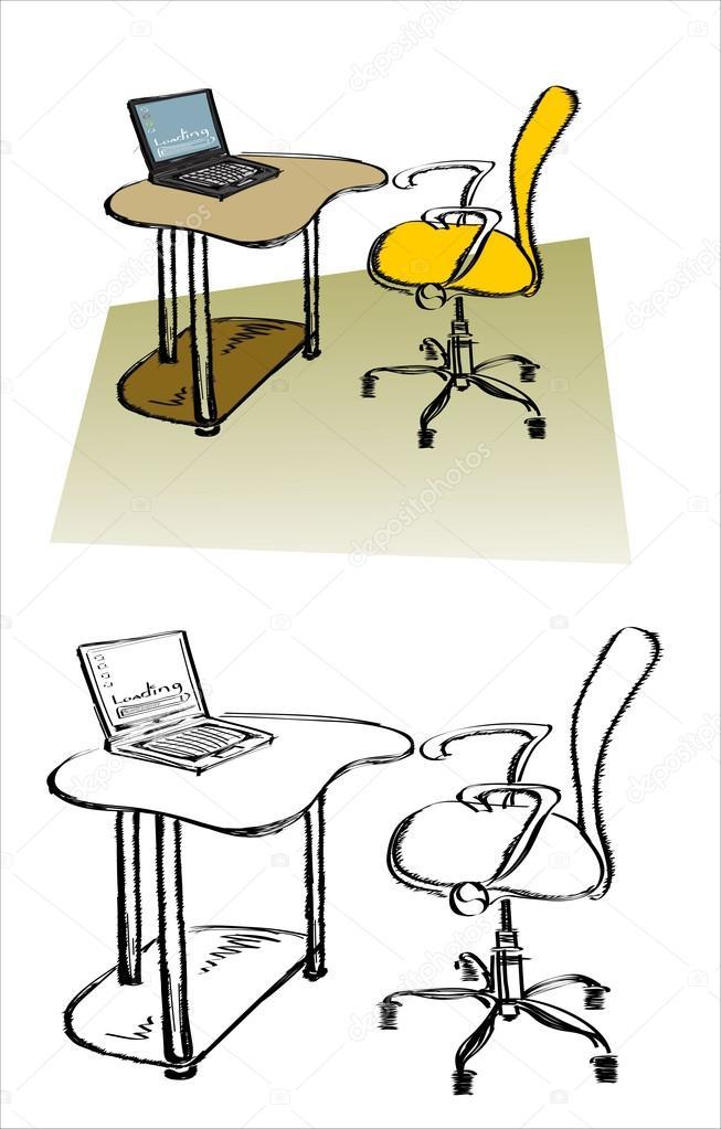 Bürostuhl gezeichnet  gezeichnete Skizze des Arbeitsplatzes — Stockvektor #97991234