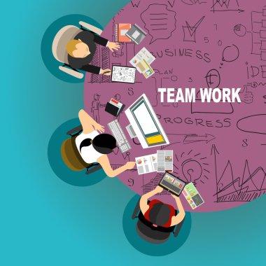 Flat design  for team work